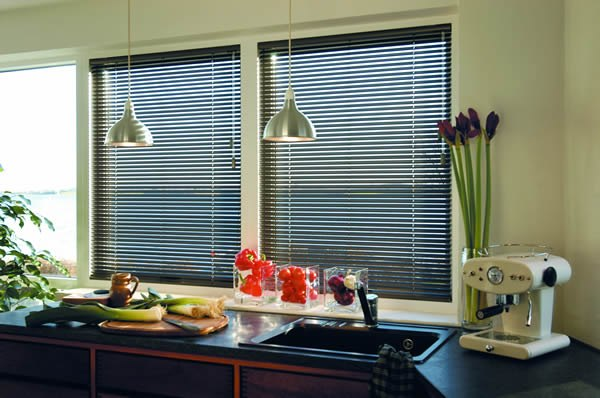 Aluminium Venetian Blinds in Black